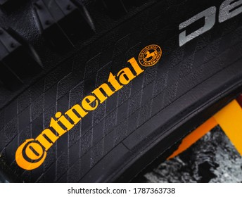 Continental logo on tyre closeup. Continental is a German manufacturer of tires and auto components. Moscow, Russia - July 10, 2020