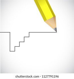 continue your way. fall then recover. life path. bussiness concept illustration. over a blue background