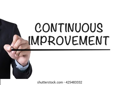 CONTINUOUS IMPROVEMENT Businessman hand writing with black marker on white background