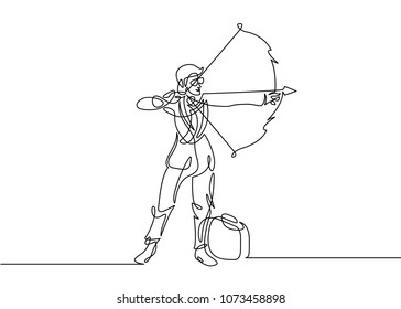 Continuous one drawn line of businessman manager silhouette shooting with a bow arrow. Businessman aiming target. Concept business  illustration.