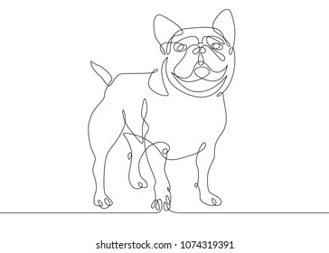 Continuous one drawn line of the logo symbol for the logo of the sitting reclining dog. The concept of wildlife, pets, veterinary.