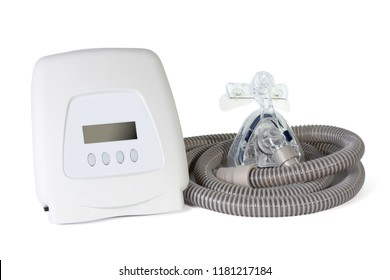 A continuous positive airway pressure with premium quality of mask and hose used for obstructive sleep apnea patient ,isolated on white background .