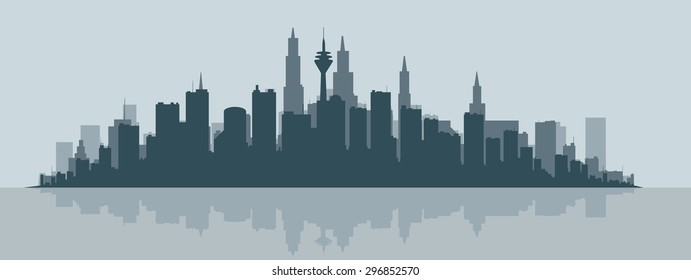 Contour of the big city at the ocean.