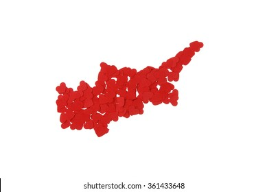 contour of the Cyprus built of small red hearts on a white background