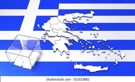 Contour of Greece and transparent ballot box