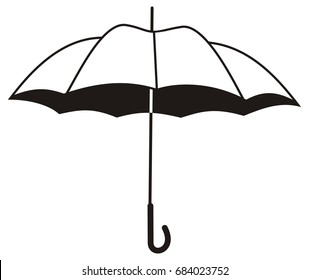 Contour image of umbrella isolated on a white background. Raster clip art.