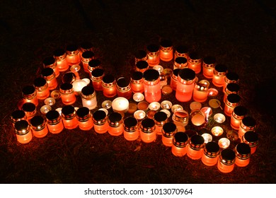 Contour of Latvia made of candles