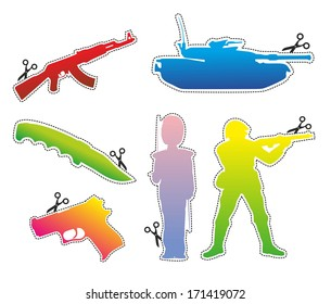 contour of military symbols such as soldier and gun