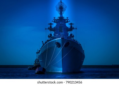 Contour of a warship. A military ship of Russia. Rocket cruiser.
