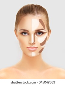 Contouring.Make up woman face. Contour and highlight makeup.