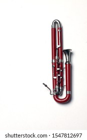 contra-bassoon isolated on white background flat lay