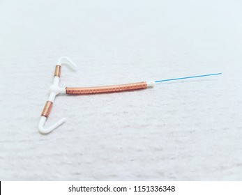 Contraceptive. Copper IUD. Birth control with copper IUD contraception. Sex education responsability.