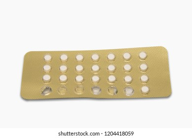 Contraceptive pill isolated on white background with clipping path. Birth control pill,healthcare and medicine.