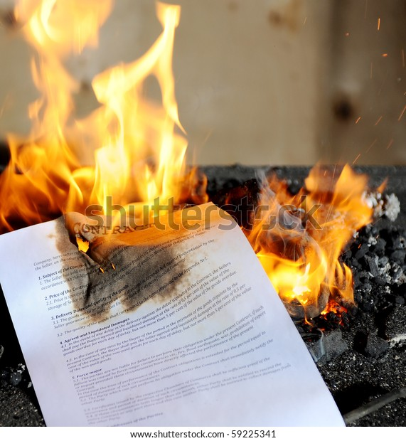 Contract burning in the fire