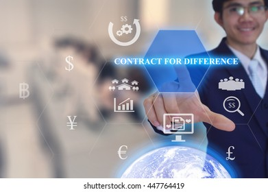 CONTRACT FOR DIFFERENCE concept  presented by  businessman touching on  virtual  screen - image element furnished by NASA- SOFT SILVER TONE