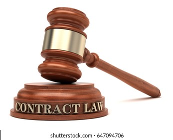 Contract Law text on sound block & gavel.