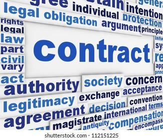 Contract poster concept. Legal agreement message conceptual design