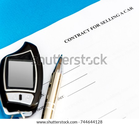 contract selling car pen car remote stock photo edit now 744644128
