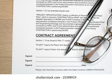 Contract signing concept. Note: data is all fiction.