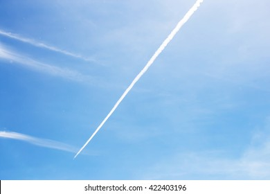 contrail in the blue sky