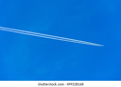 Contrails of airplane on clear blue sky