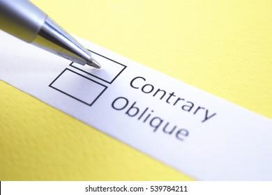 Contrary or oblique? Contrary.