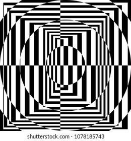 The Contrast Abstract Black and White Geometric Pattern with Stripes and Circles. A Optical Psychedelic Illusion. A Wicker Structural Texture. Raster Illustration