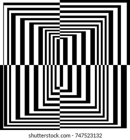 The Contrast Abstract Black and White Geometric Pattern with Stripes. A Optical Psychedelic Illusion. A Wicker Structural Texture. Raster Illustration