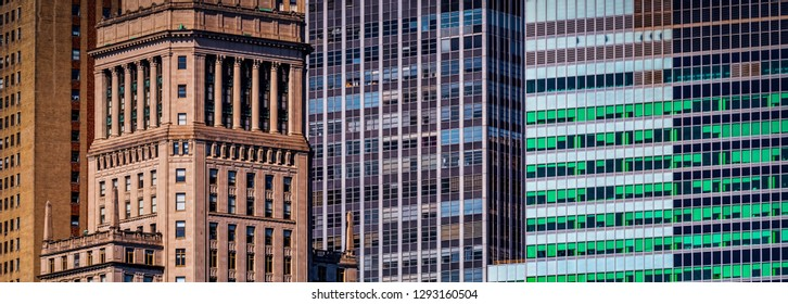 The contrast between the old and new buildings of New York City.