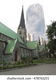 Contrast between old and new in Montreal, Quebec, Canada