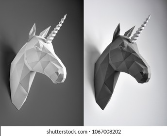 Contrast collage of black and white unicorn heads. Horses have similiar geometrical lines and shape with angles. Unicorns hang on white and black background.