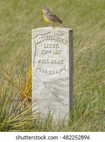 A contrast of emotions. A Meadowlark sings a happy tune while perched on the grave marker of John Jordan Crittenden III who died in the Battle of the Little Bighorn
