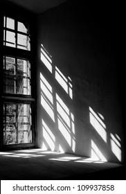 Contrast light from a window in the castle in Lviv