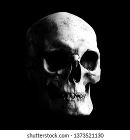 Contrast light-shadow image of a human skull on a black background. The sinister face of death. Sinister skull.