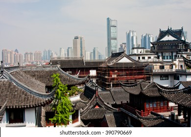 Contrast of old and new buildings in Shanghai, China.