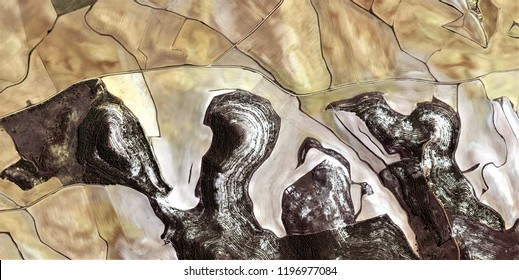 Contrast, tribute to Picasso, abstract photography of the Spain fields from the air, aerial view, representation of human labor camps, abstract, cubism, abstract naturalism,