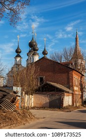 The contrast view of the traditional Russian church and old building in Suzdal, Vladimir region, Russia.