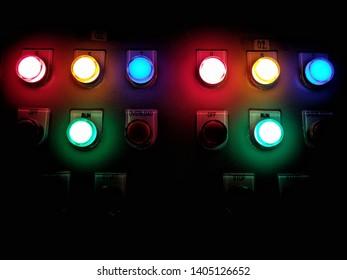 control botton light in the dark room