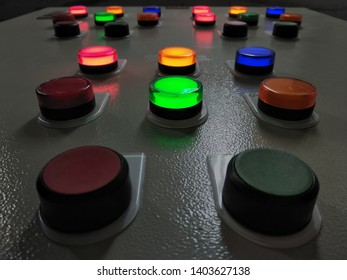 Control bottons in the dark room , focus on some point