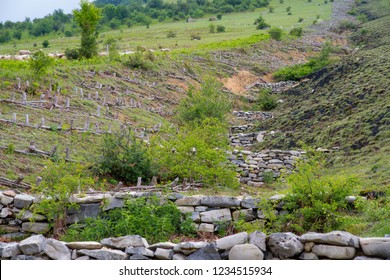Control erosion. Soil erosion mitigation in the mountains.