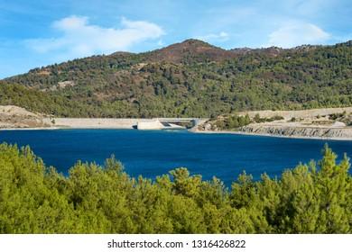 Control gate and reservoir of Gadoura Dam on Rhodes Island (Rhodes, Greece)
