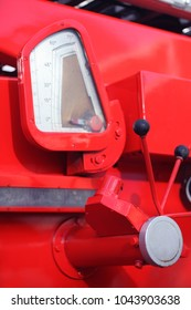 control handle of an old red machine