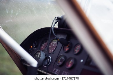 Control panel in an airplane, gyroplane. Closeup