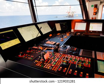 control panel and buttons of steering systems of a modern dynamic positioning offshore vessel
