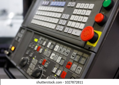 Control panel of the modern CNC machine. Selective focus.