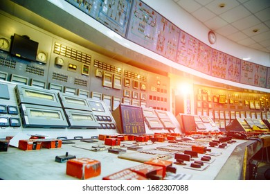 Control panel at a nuclear power plant. Close-up.