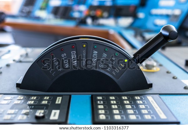 Control stick of a merchant ship in full ahead mode.