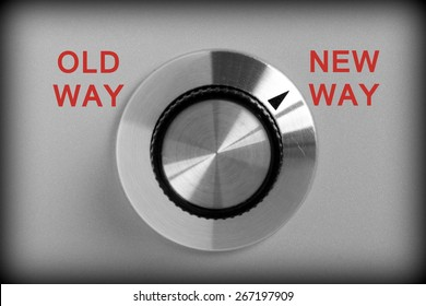 Control switch in black and white with options for Old Way or New Way with the switch pointing at New