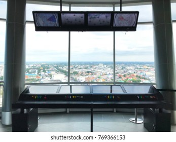 Control tower aviation on blue sky background, blur background.