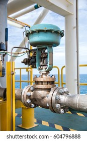 Control valve,Pneumatic operate  valve by PLC control  at offshore oil and gas central processing platform, manual valve